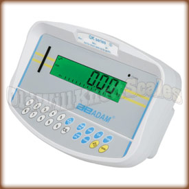 The GBK bench scale's weight display and controls