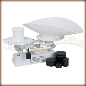 The Detecto 1002TBKG dough scale with counter weights.