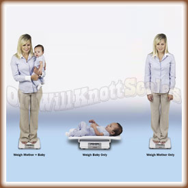 Demonstration showing the MB150 used as a baby scale, adult scale and mother child scale.