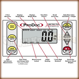 Detecto - ProDoc PD300 - Indicator Key Showing Button Functions