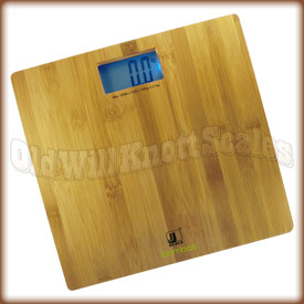 The Jennings Bamboo digital bathroom scale with bamboo weighing surface.