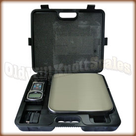 The My Weigh Briefcase Scale inside the case.