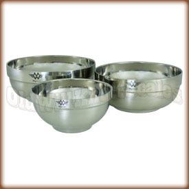 Three Piece Stainless Steel Weighing Bowl Set