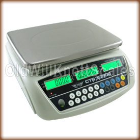 The CTS-30000, its large stainless steel platform, bright display,and operation keys.