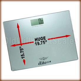 My Weigh Elite XXL glass bathroom scale with silver platform.