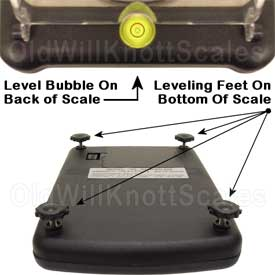 Illustration of the level indicator and adjustable feet.