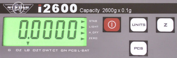 Close image of the i2600 main weight display.
