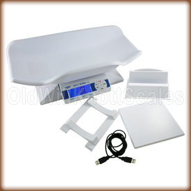 The My Weigh MBSC U2 digital baby scale with included envelope holder, tube holder and flat platform.