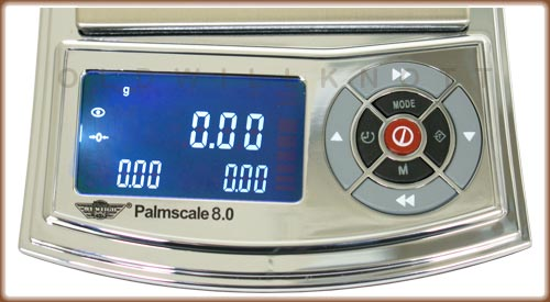 Detailed image of the Palm Scale's weight display and operation keys.