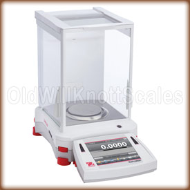 Front view of the Explorer analytical balance.