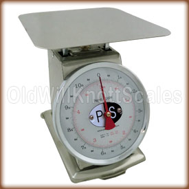 The Penn P-10 top loading spring scale with stationary dial.