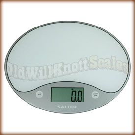 The Salter 1053 white ultra thin kitchen scale.