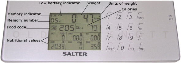 Detailed image of the Salter 1406 display and operation keys.