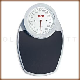The red Seca 750 mechanical bathroom scale