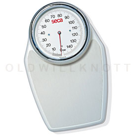 The white Seca 760 mechanical bathroom scale