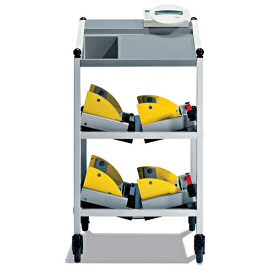 Seca 984 Medical Dialysis Scale - View Of Wheeled Trolley Carrying The Four ''Load Cell / Bed Lifts'' And Weight Indicator