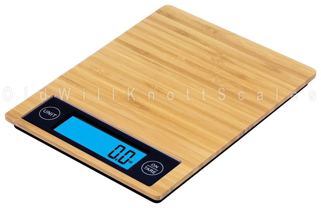 The Taylor 3828 Digital Kitchen Scale With Bamboo Weighing Surface.