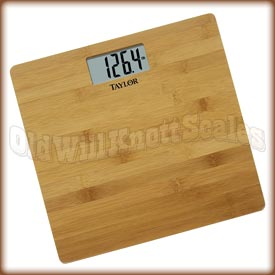 The Taylor 8657 digital bathroom scale with bamboo weighing surface.