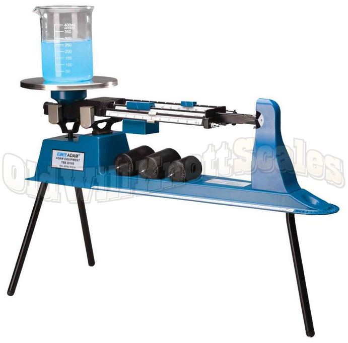Adam TBB 2610S Triple Beam Balance - With Tripod Legs, Weighing A Beaker On The Platform
