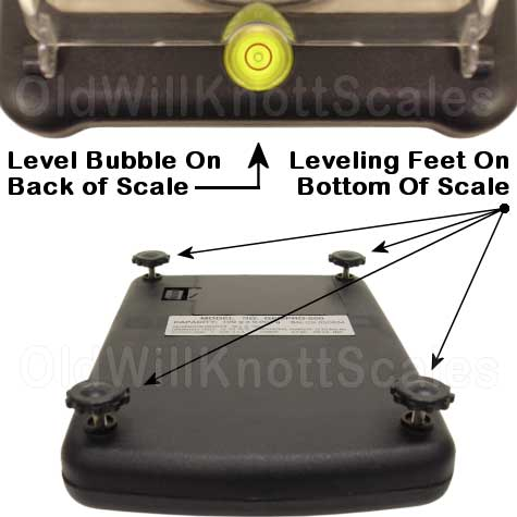 My Weigh - GemPro 500 - Bottom View Showing Adjustable Feet and Level Bubble