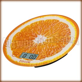 Taylor - 3823OR - Glass Top Kitchen Scale with Orange Slice Background