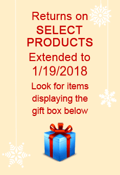Returns on select products extended to 01/19/2018. Look for items displaying the gift box icon.
