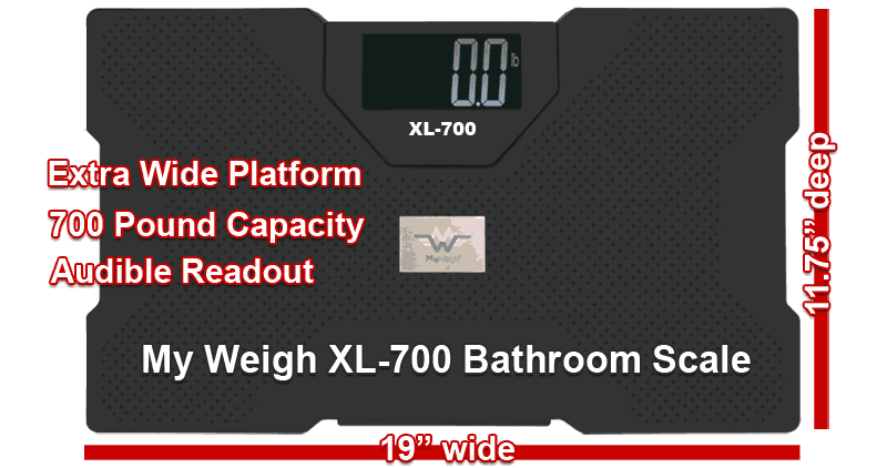 My Weigh XL-700 | Extra wide platform, 700 pound capacity, audible readout | 19 inches wide x 11.75 inches deep