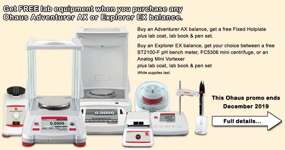 Free lab equipment when your purchase an Ohaus Adventurer AX or Explorer EX balance.