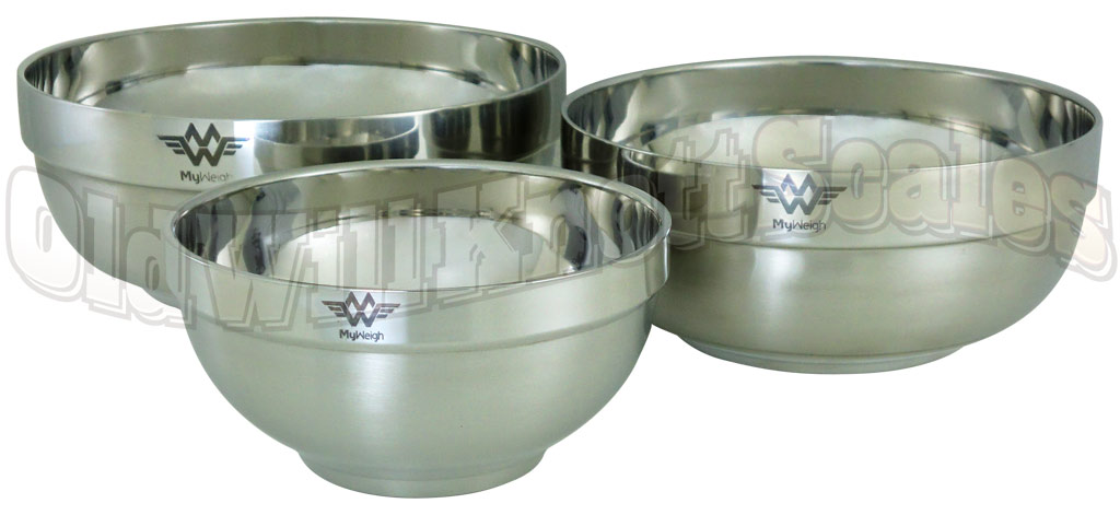 My Weigh Three Piece Stainless Steel Bowl Set