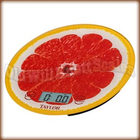 Taylor - 3823GR - Glass Top Kitchen Scale with Grapefruit Slice Background