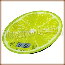 Taylor - 3823LI - Glass Top Kitchen Scale with Lime Slice Background